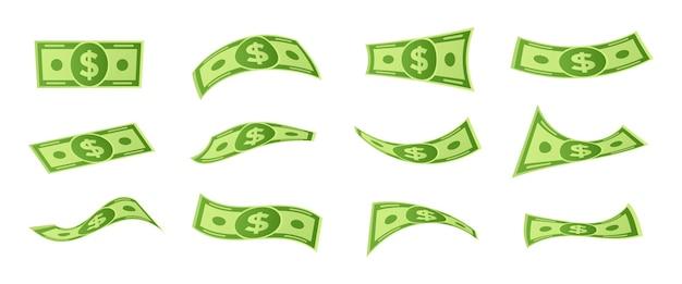 Desenhos animados caindo contas de dinheiro. notas de dólar voando, dinheiro 3d e moeda usd. notas de banco de flutuação de dinheiro, investimento de financiamento bancário ou vitória do jackpot. conjunto de símbolos de vetor isolado