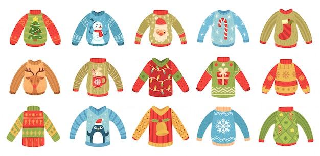 Desenhos animados camisolas feias de natal. jumper de festa de férias de natal, camisola de malha de inverno com papai noel e conjunto isolado de árvore de natal