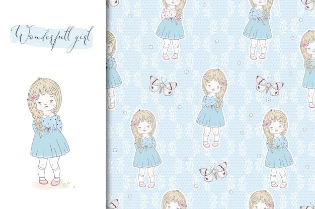 Desenhos animados cartão menina bonitinha e padrão sem emenda. mão ilustrações desenhadas