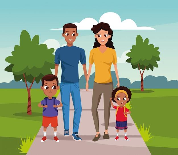 Desenhos animados casal feliz andando com as crianças sobre a paisagem