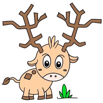 Desenhos animados cervos de animais de fazenda à procura de grama, doodle desenhar kawaii. ilustração vetorial arte