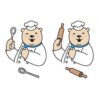 Desenhos animados chef de urso polar