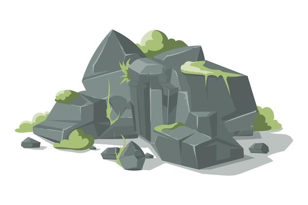 Desenhos animados cinzentos das pedras e das rochas