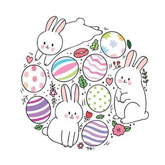 Desenhos animados coelhinhos da páscoa e ovos coloridos em círculo