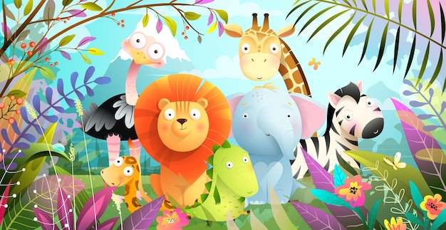 Desenhos animados coloridos do safari na selva de animais africanos para crianças. floresta tropical com elefante bebê fofo leão girafa e crocodilo, pôster engraçado de animais exóticos. ilustração colorida.