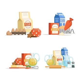 Desenhos animados coloridos ingridients de cozinhar ou conjunto de pilhas de mantimentos