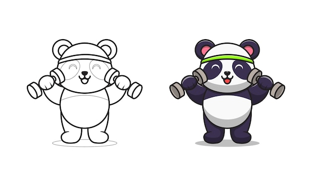 Desenhos animados com barra de levantamento de panda fofinho para colorir Vetor Premium