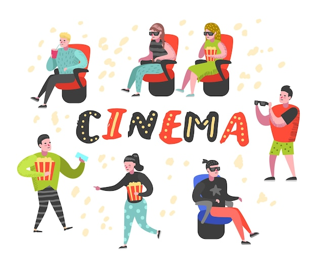 Desenhos animados com pipoca e refrigerante assistindo filme no cinema