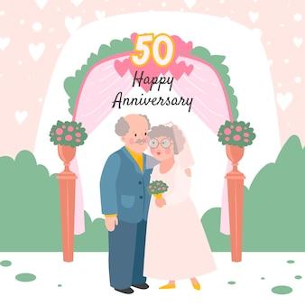 Desenhos animados comemorando aniversário de casamento de ouro