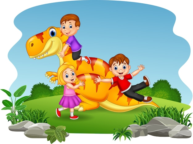 Desenhos animados criança brincando no dinossauro
