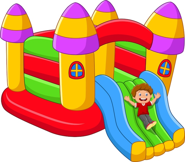 Desenhos animados crianças brincando no balão do palácio