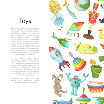 Desenhos animados crianças brinquedos copyspace