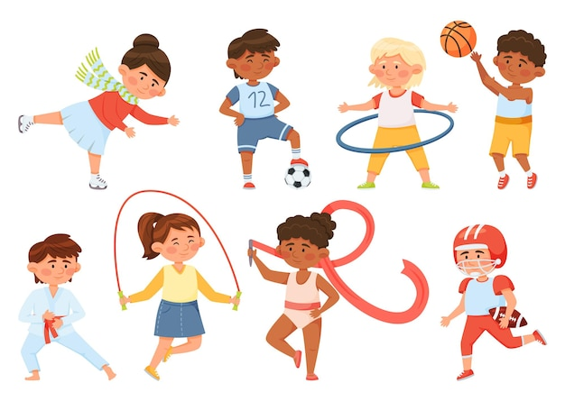 Desenhos animados crianças exercitando crianças fazendo ginástica esportiva menino menina jogar bola patinação no gelo conjunto de vetores