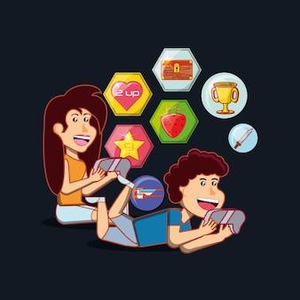 Desenhos animados crianças felizes com controles de videogames e ícones relacionados ao redor