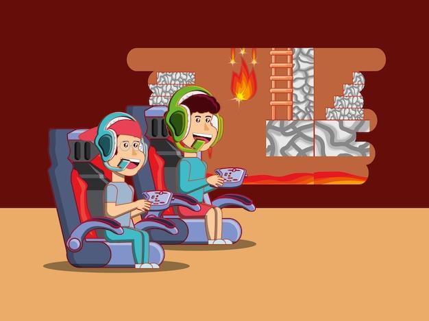 Desenhos animados crianças felizes jogando videogame sobre fundo marrom