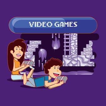 Desenhos animados crianças felizes jogando videogame sobre fundo roxo