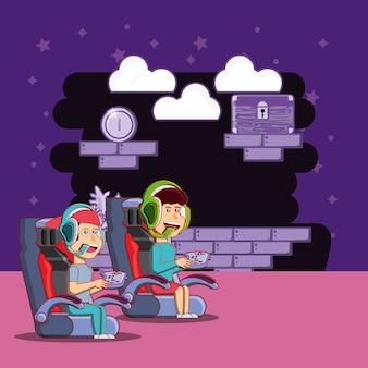 Desenhos animados crianças felizes jogando videogame