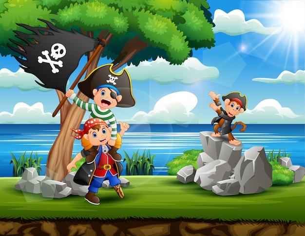Desenhos animados crianças piratas à procura de tesouros na margem do rio