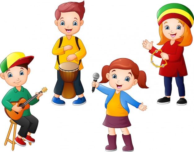 Desenhos animados crianças tocando música juntos