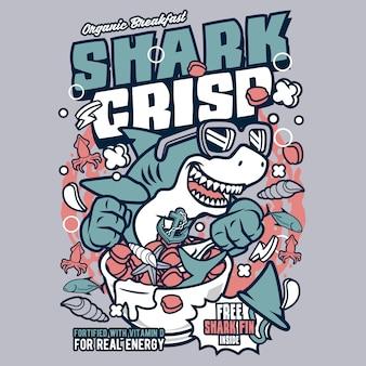 Desenhos animados crocantes de tubarão