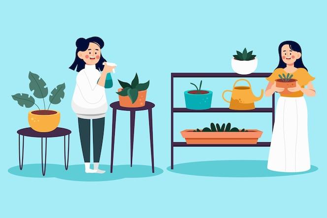 Desenhos animados cuidando de plantas