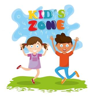 Desenhos animados da animação das crianças da zona dos miúdos
