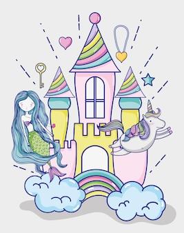 Desenhos animados da arte da sereia pequena