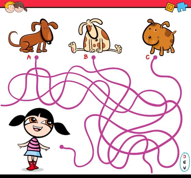 Desenhos animados da atividade do labirinto