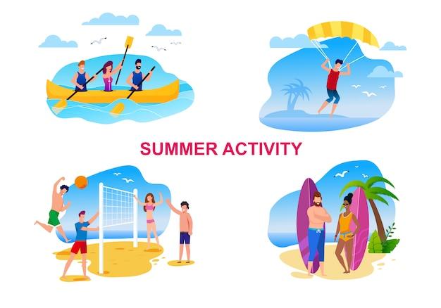 Desenhos animados da atividade do verão ajustados com povos de descanso.