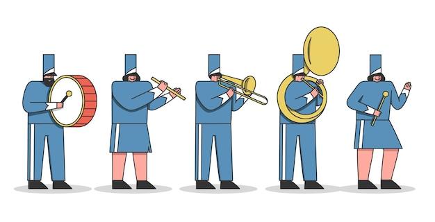 Desenhos animados da banda marcial. membros da orquestra militar com instrumentos musicais e uniforme