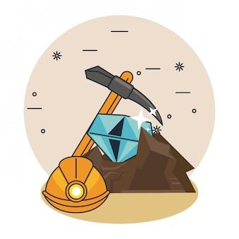 Desenhos animados da caverna de mineração