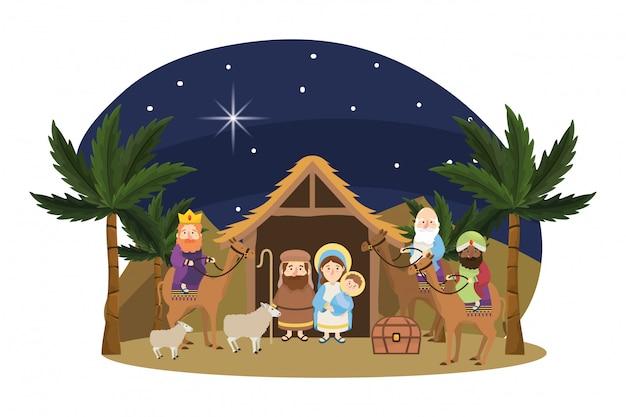 Desenhos animados da cena da natividade de natal
