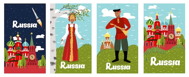 Desenhos animados da coleção de rússia da inscrição do cartaz lisos.