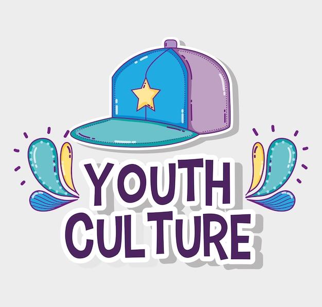 Desenhos animados da cultura da juventude chapéu legal