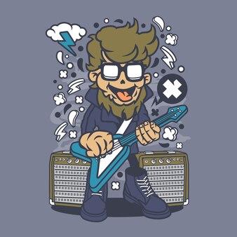 Desenhos animados da estrela do rock de Hipster