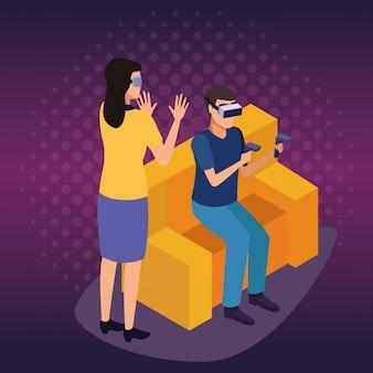 Desenhos animados da experiência da tecnologia da realidade virtual no fundo digital roxo