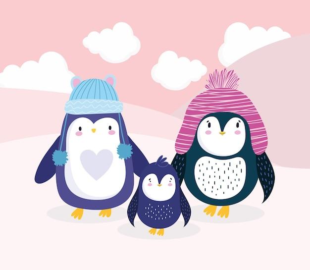 Desenhos animados da família de pinguins com chapéus