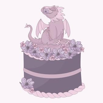 Desenhos animados da festa de anos do bolo do dragão
