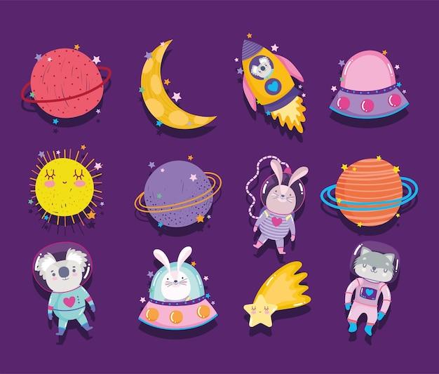Desenhos animados da galáxia de aventura espacial em ícones de estilo, como animais de foguete, estrelas, lua e sol