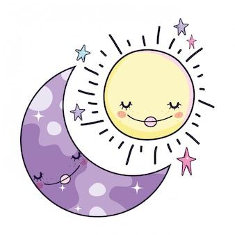 Desenhos animados da lua e do sol
