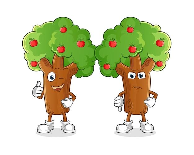 Desenhos animados da macieira polegares para cima e polegares para baixo. mascote dos desenhos animados