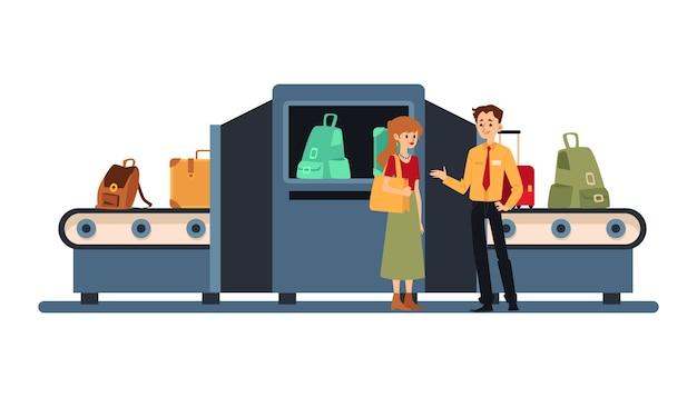 Desenhos animados da máquina de verificação de segurança de bagagem do aeroporto pessoas próximas ao scanner