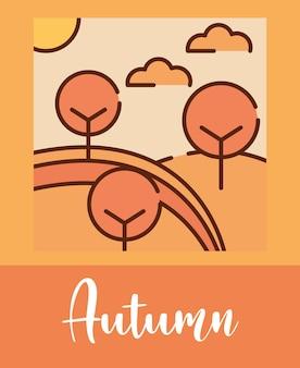 Desenhos animados da natureza das árvores da floresta do outono da paisagem, ilustração vetorial plana de linha preenchida