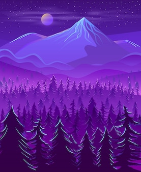 Desenhos animados da paisagem da noite da terra do norte selvagem