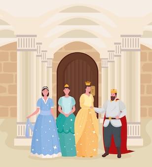 Desenhos animados da rainha do conto de fadas e princesas na ilustração do castelo