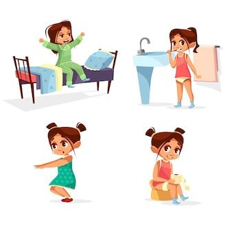Desenhos animados da rotina da manhã da criança da menina.