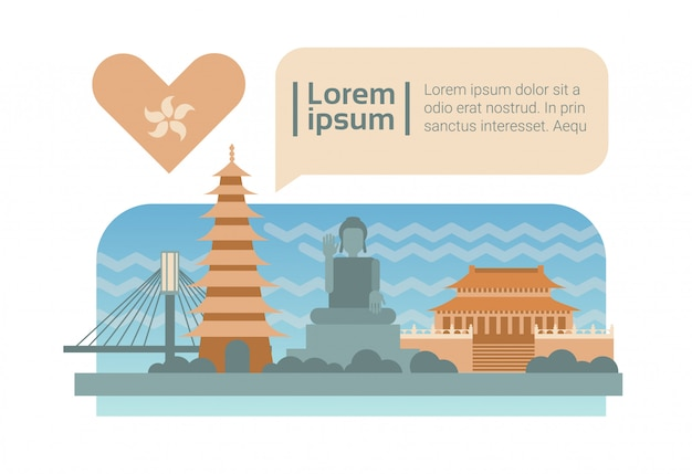 Desenhos animados da skyline da fachada dos edifícios da cidade da rua de hong kong