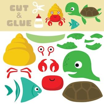 Desenhos animados da vida marinha, caranguejo eremita, peixes e tartarugas. jogo de papel para crianças. recorte e colagem.
