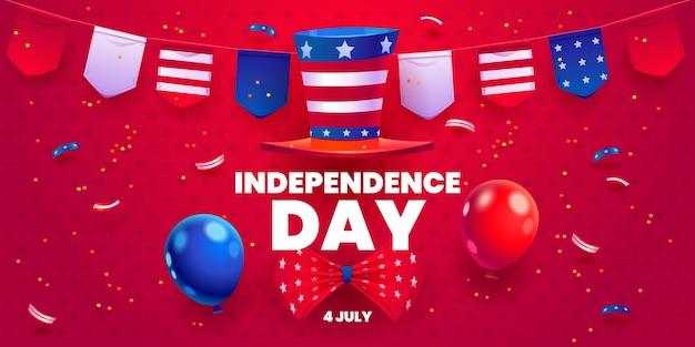 Desenhos animados de 4 de julho - fundo de balões do dia da independência