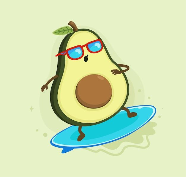 Desenhos animados de abacate surfando no verão
